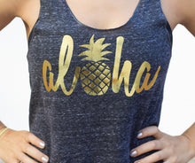 Load image into Gallery viewer, Aloha Pineapple tank top in charcoal- Valleau Apparel