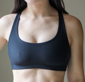 Ribbed 2-in-1 Sports Bra/Bikini - Black