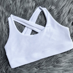 Ribbed 2-in-1 Sports Bra/Bikini - White