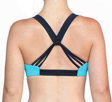 Load image into Gallery viewer, Cheer Squad sports bra in Teal and Black