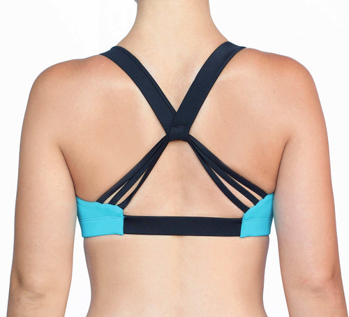 Cheer Squad sports bra in Teal and Black