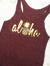 Load image into Gallery viewer, Aloha Pineapple shirt in maroon and gold - Valleau Apparel