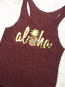 Aloha Pineapple shirt in maroon and gold - Valleau Apparel