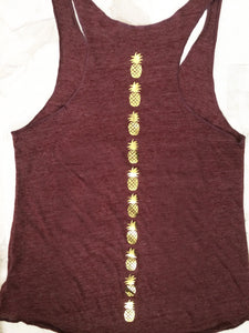 Maroon and gold pineapple shirt tank top racerback - Valleau Apparel