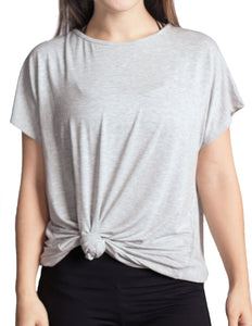 Backless Twist Tee in Grey