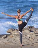 Full length black and grey yoga leggings with mesh detail - Valleau Apparel