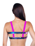 Open back galaxy sports bra with pink straps - Valleau Apparel