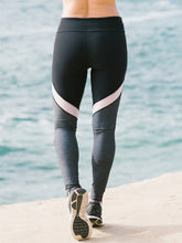 Load image into Gallery viewer, Black and grey workout leggings with white mesh insert - Valleau Apparel