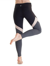 Load image into Gallery viewer, Black and grey workout leggings with mesh detail
