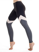 Load image into Gallery viewer, Black and grey yoga pants with white mesh chevron - Valleau Apparel