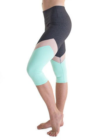 Mint and grey leggings with white mesh insert  - Valleau Apparel