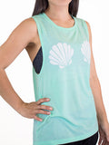 Mint workout tank top-Seashell mermaid muscle shirt
