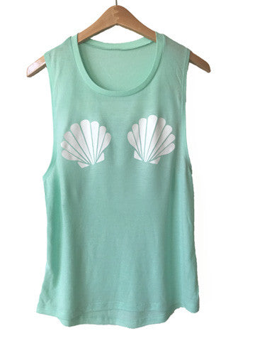 Seashell Muscle Tank-Mint