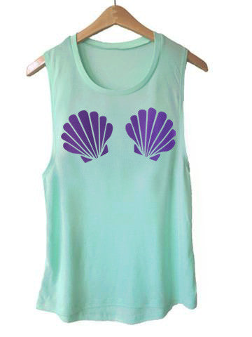 Purple Seashell Muscle Tank-Mint