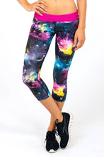 Load image into Gallery viewer, Galaxy leggings/capris with fold over pink waistband - Valleau Apparel