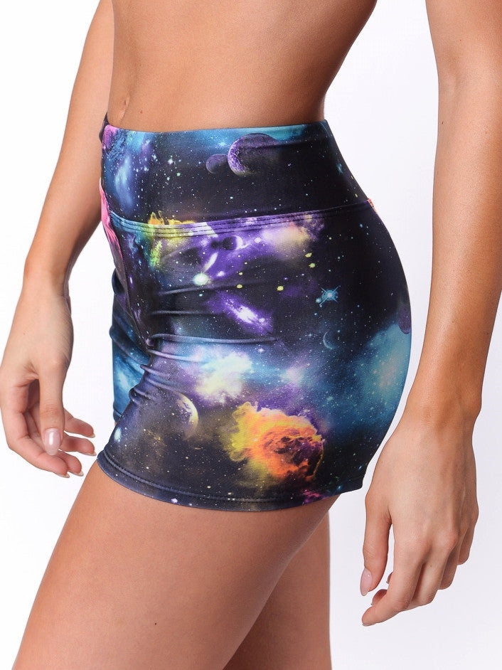 Galaxy workout shorts for yoga - Valleau Apparel