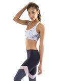 White marble sports bra and black leggings - Valleau Apparel