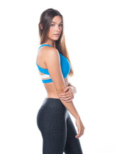 Load image into Gallery viewer, Sea Breeze in Caribbean Blue & White,sports bra - Valleau Apparel
