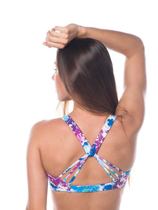 Strappy blue floral sports bra - Valleau Apparel
