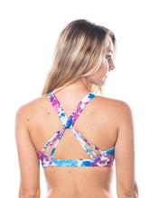 Load image into Gallery viewer, Strappy blue cheer sports bra - Valleau Apparel