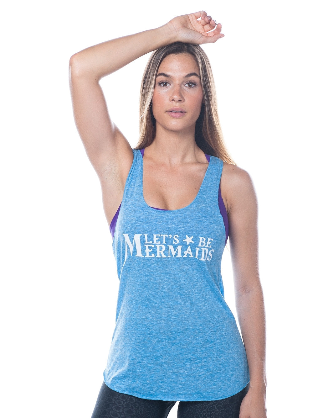 Mermaid workout tank top in blue  - Valleau Apparel