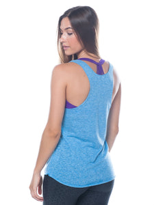 Blue racer back workout tank top - Valleau Apparel