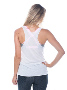 Namastay in Bed Tank-White/Purple,printed top - Valleau Apparel