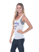 Load image into Gallery viewer, Namastay in Bed Tank-White/Purple,printed top - Valleau Apparel