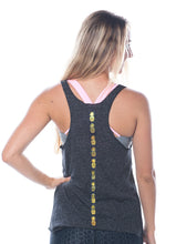 Load image into Gallery viewer, Charcoal and gold pineapple tank top, racerback - Valleau Apparel