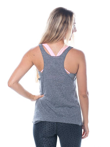 Grey racerback workout tank top with mermaid front - Valleau Apparel