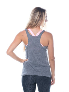 Mermaid Shells Tank- Grey/White,printed top - Valleau Apparel