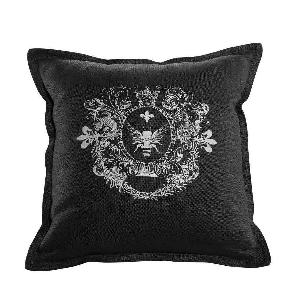 Curations Limited Logo Pillow Black Linen
