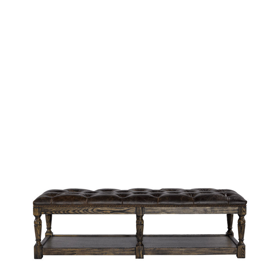 Curations Limited Leather Tufted Ottoman