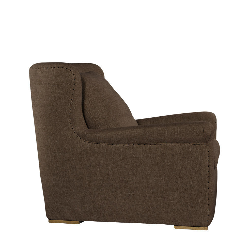 Curations Limited Winslow Lounge Chair Brown Linen