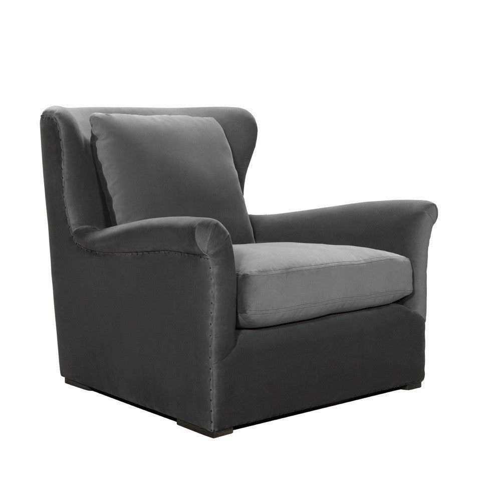 Curations Limited Winslow Lounge Grey Velvet Chair