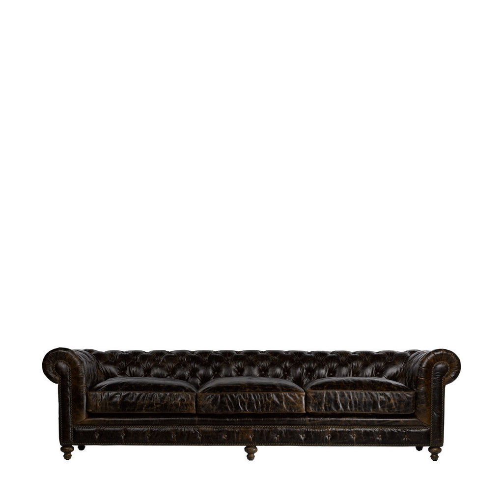 "Curations Limited 118"" Cigar Club Leather Sofa"