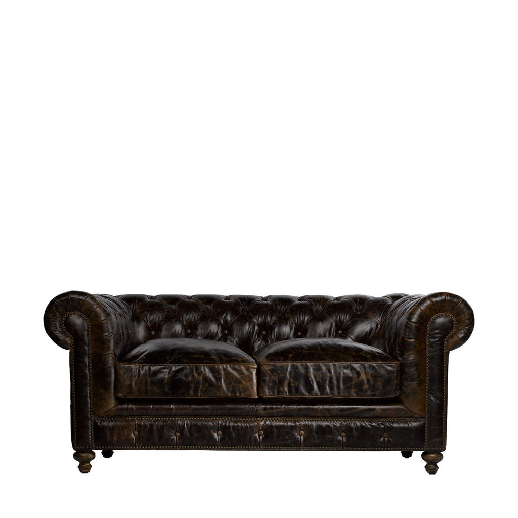 "Curations Limited 77"" Cigar Club Leather Sofa"