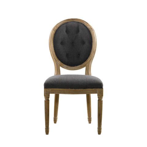 Curations Limited Vintage Wool Louis Round Button Side Chair