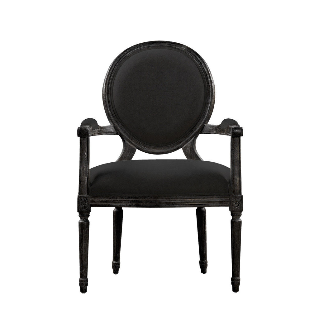Curations Limited Vintage Louis Antique Black Arm Chair