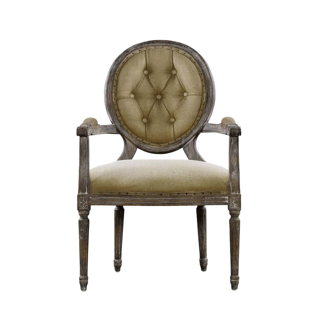 Curations Limited Vintage Louis Round Button Arm Chair