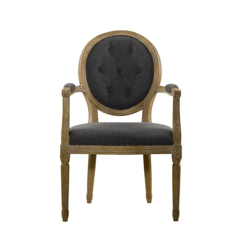 Curations Limited Vintage Wool Louis Round Button Arm Chair