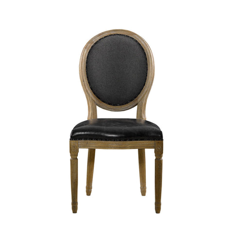 Curations Limited Vintage Louis Slate Round Side Chair