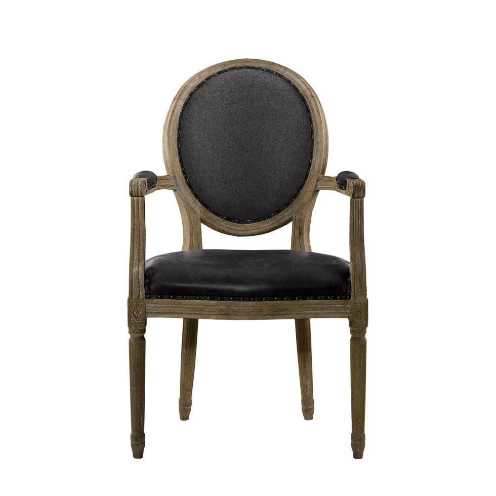 Curations Limited Vintage Louis Slate Round Arm Chair