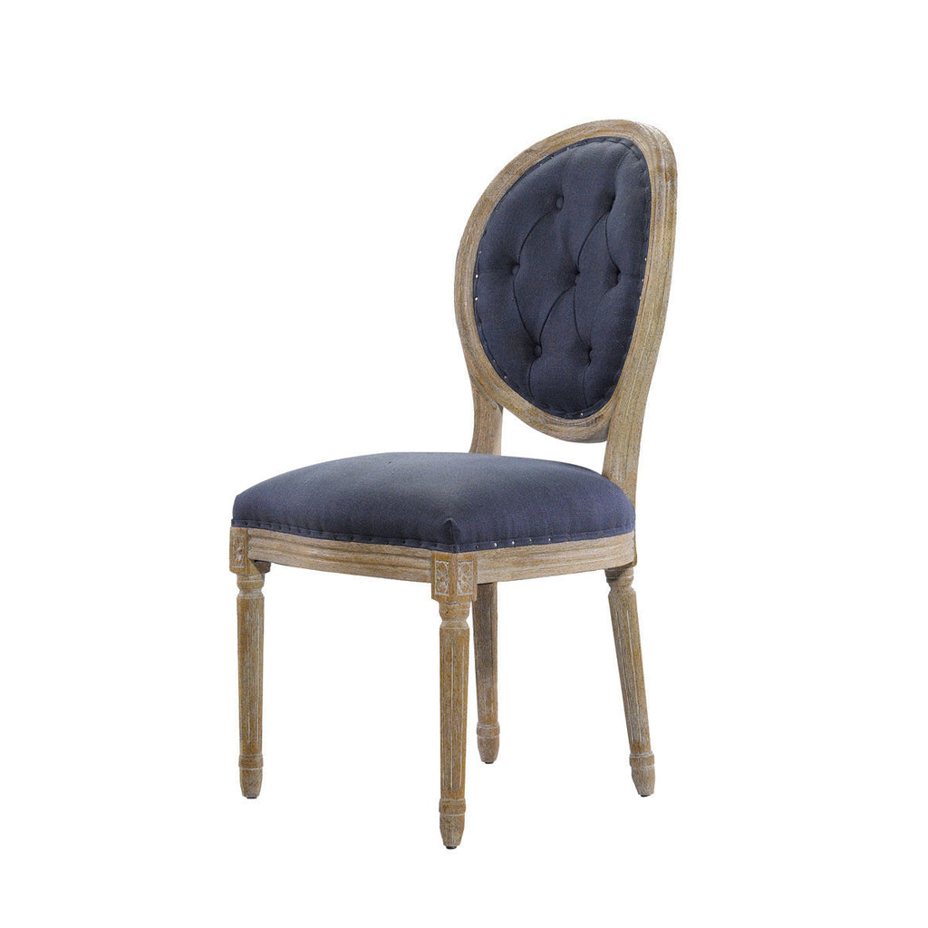 Curations Limited Vintage Louis Round Button Indigo Side Chair