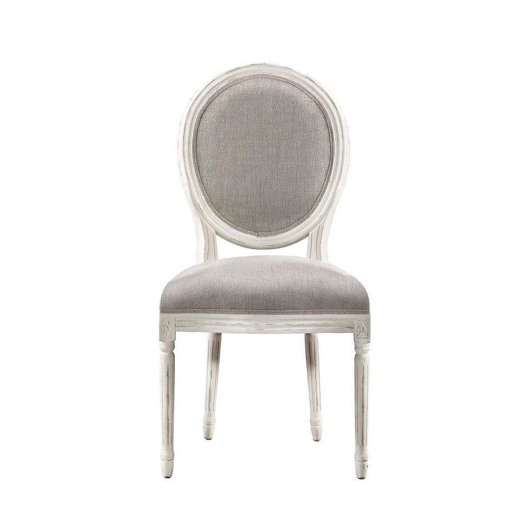 Curations Limited Vintage Louis Round  Vintage White Side Chair