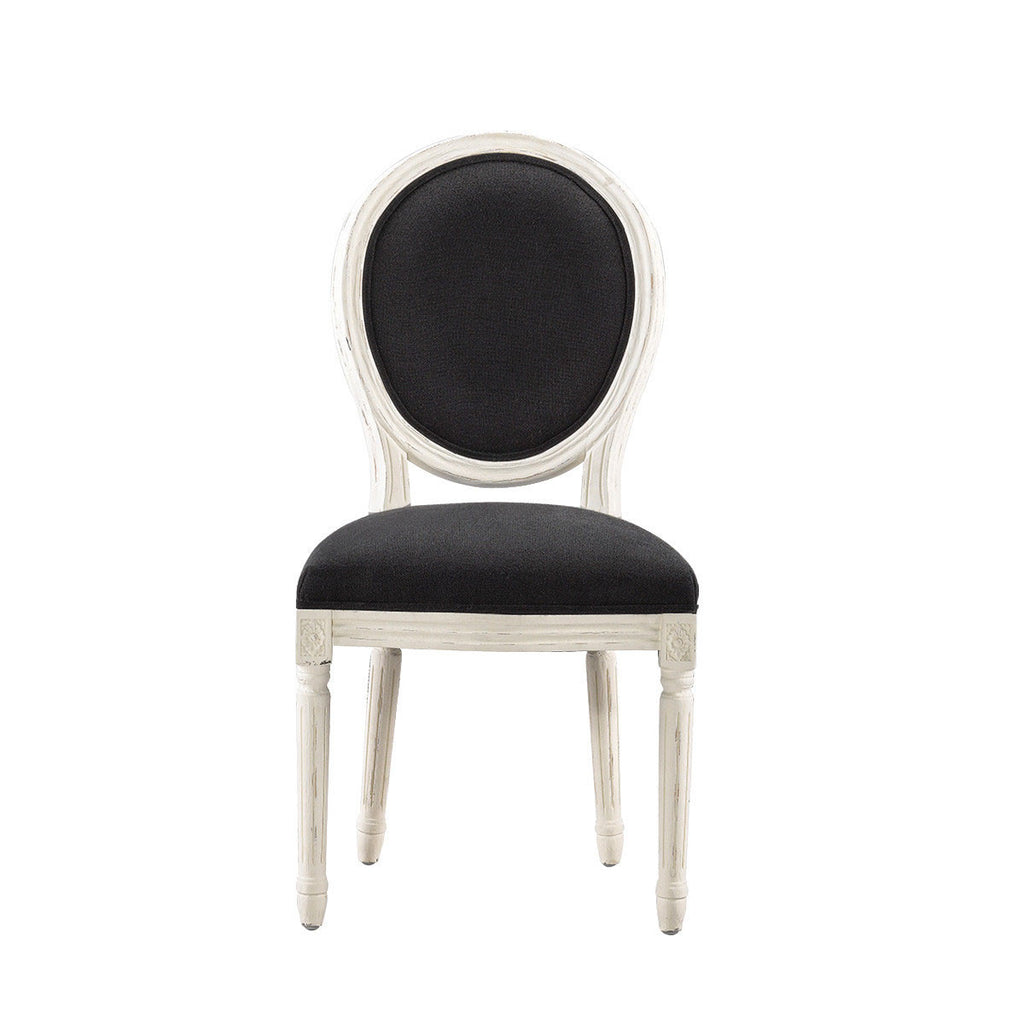 Curations Limited Vintage Louis Round Vintage White Finish Side Chair