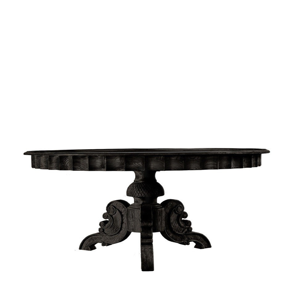 "Curations Limited 55"" French Round Antique Black Table"
