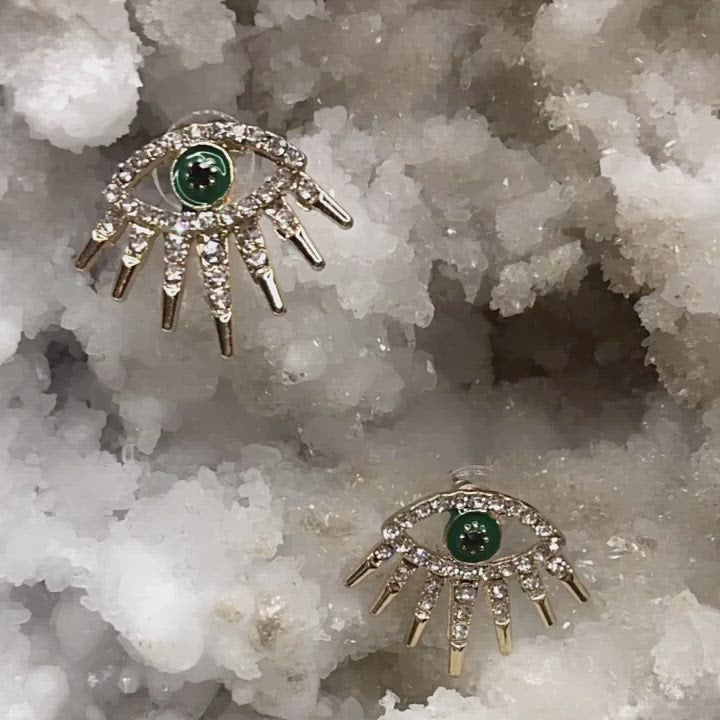 athira eye earrings for women | gold evil eye earrings | green glass evil eye earrings for women