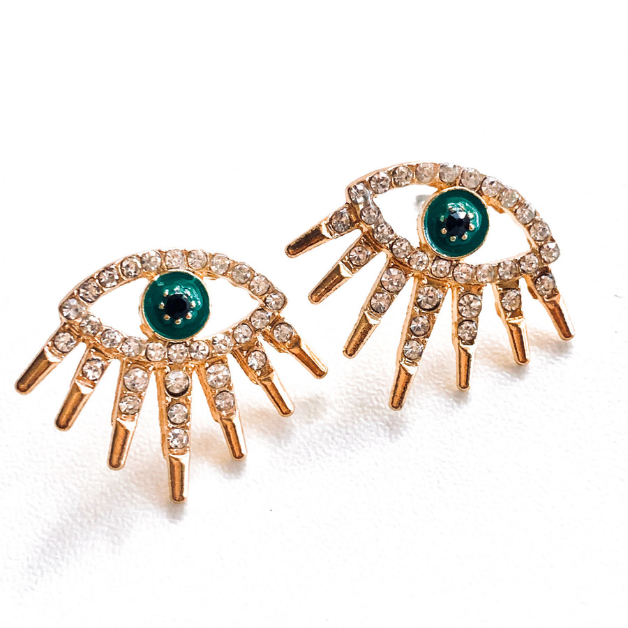 athira eye earrings for women | gold evil eye earrings