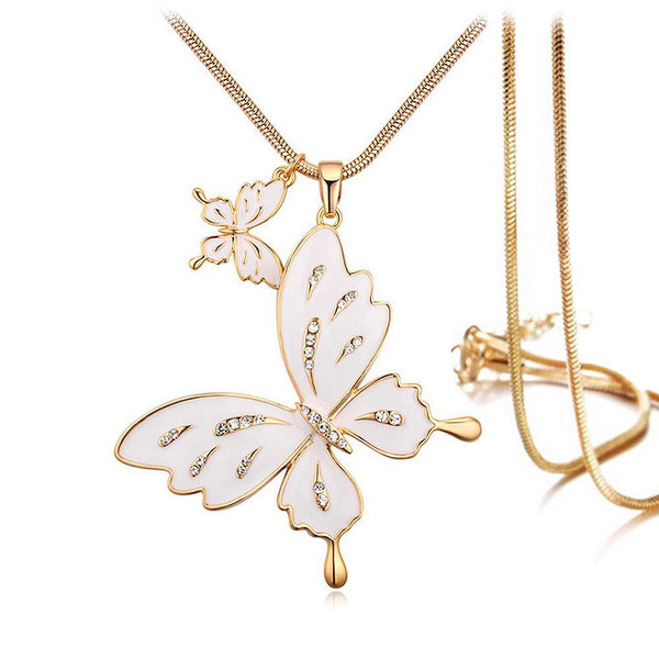 f8b11a2df Sweet Butterfly Long Necklace White Embellished with Swarovski ...